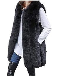 9eabc7d6355300 Dorical Damen Winter Warm Strickjacke Weste Beiläufige Art und Weise  Kunstfell übergroß Kein Ärmel Einfarbig Jacke…