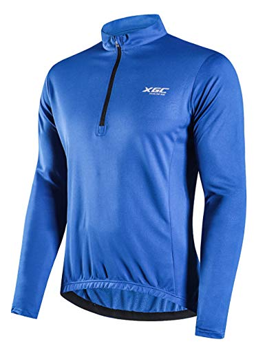 XGC Herren Langarm Radtrikot Fahrradtrikot Radshirt Fahrradshirts Fahrradbekleidung für Männer mit Elastische Atmungsaktive Schnell Trocknen Stoff (Blue, L)