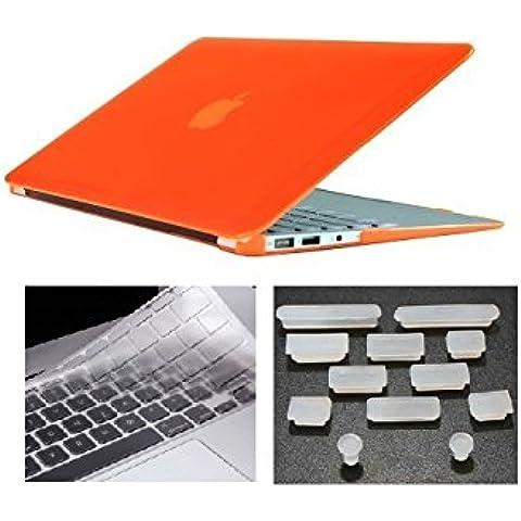 HYAIT 3in 1Ultra Sottile Cristallo Hard Case + tastiera copertura + Anti-Dust Plugs per Apple Macbook Air da 11.6A1370e A1465, colore: arancione