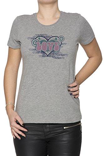 Love Pink Donna T-shirt Grigio Cotone Girocollo Maniche Corte Grey