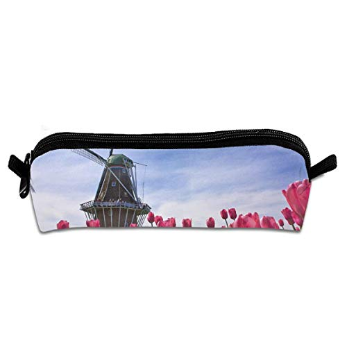Red Tulip Flowers And Windmill 1 Make Up Travel Bag Pouch For Women Cosmetic Toiletry Bag with Zipper Zip-tulip