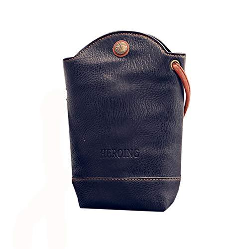 Rovinci Damen Kurier-Beutel Schlank Umhängetaschen Handtasche aus PU-Leder Kleine Körper Taschen (Schwarz)