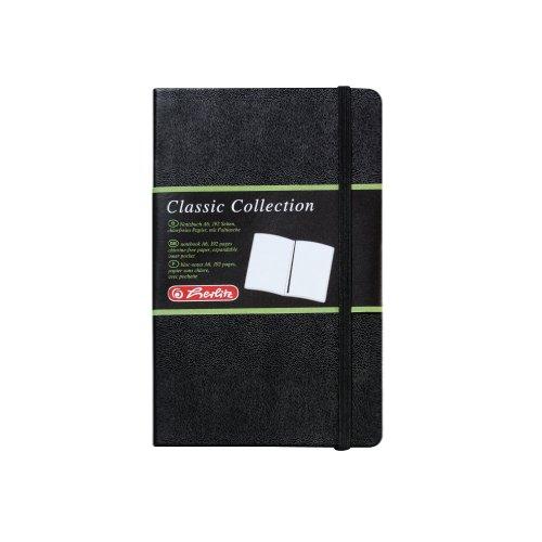 Preisvergleich Produktbild Herlitz 10789451 Geschäftsbuch in Lederoptik, schwarz, blanko, A6, 96 Blatt, Inhaltspapier 80g/m² Notizbuch Classic Collection