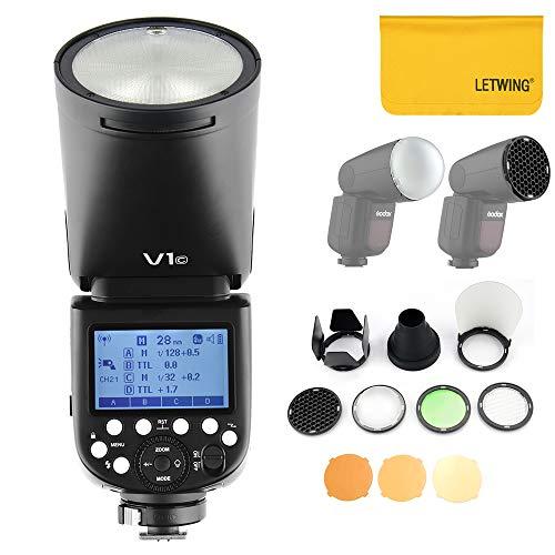 Godox V1C TTL 1 / 8000s HSS Runder Kamera Blitz + AK-R1 Taschenlampe für Canon Kamera Zoom Studio Kit