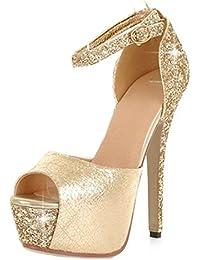 SHOWHOW Damen Sexy Peep Toe Paillette Plateau Stiletto Knöchelriemchen Sandale Silber 33 EU