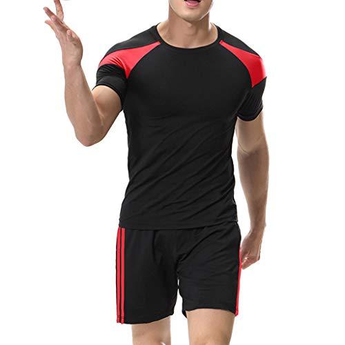 Celucke Herren Laufshirts + Laufshorts 2 Stücke Sport Anzug, Performance T-Shirt Kompressionsshirt Kompressionsshorts Trainingsshorts Kompression Atmungsaktiv Stretch Sportshirt für Fitness