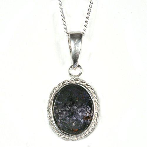 Silver / Blue John (Derbyshire) 'Large' Pendant & Chain AND Earring SET BcSLz