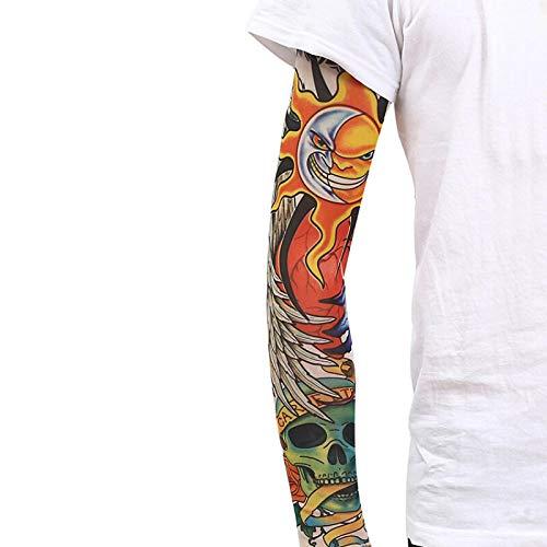 Tfsg Armlinge Tattoo Manschette männliche Mode Nylon gefälschte temporäre Tattoo Ärmel Arm Strümpfe Halloween Tattoo weich für Männer Frauen @ 21