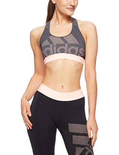adidas Damen Don\'t Rest Alphaskin Long Sport BH Mit Mittlerer Unterstützung, Dark Grey Heather/Black/Clear Orange, S