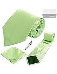 Coffret Cadeau Canberra - Cravate vert anis, boutons de manchette, pince à cravate, pochette de costume
