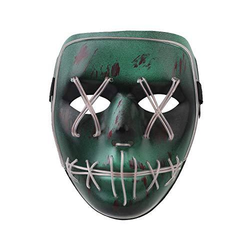 (Bolange Halloween Grimasse Maske Horror Nachtlicht Maske Horror Bloody Grimasse Glühende Maske Party Halloween Requisiten Dekoration (Ice Blue))