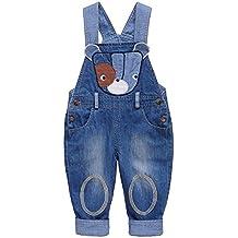 Pantalones Vaquero De Peto Para Bebé Niños Niñas Azul Largo Con Patrón De Perro Fresco Tirantes Pantalones Overall