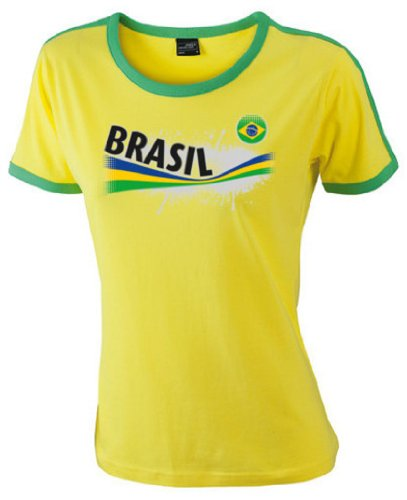 Brasilien Damen T-Shirt Ladies Flag Shirt Vintage|M -