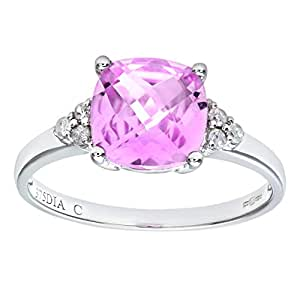 Naava 9 ct White Gold Cushion Cut Created Pink Sapphire and Diamond Ring