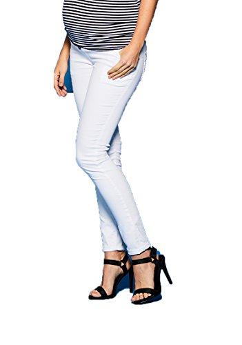 Love2Wait Superskinny Damen Schwangerschaftsjeans Umstandshose Five-Pocket-Jeans elastisch tiefer Bund schmaler Schnitt- Gr. M (Herstellergröße: 30/34), Weiß - Pocket Maternity Jeans Boot Cut