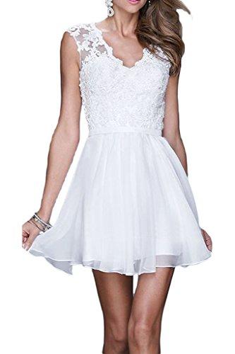 ivyd ressing robe robe a ligne mousseline & dentelle col V Demoiselle d'Honneur Soirée Prom Soirée Robe Weiß