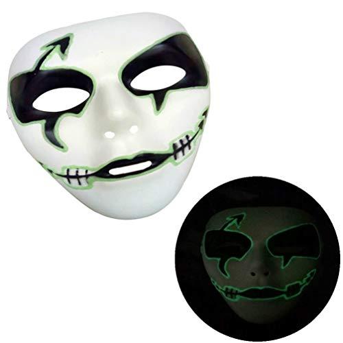 Yoyoug luminoso maschera costume di halloween party maschera horror scheletro full face mask cosplay divertente giocattolo per halloween, compleanno, carnevale festival party, c, taglia unica