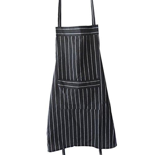 UPKOCH Küchenschürze mit Taschen-Schwarzweiss-Streifen-justierbarer Schürze für die Erwachsenen, die Backen Kochen -
