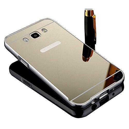 Vandot Aluminio del Metal Carcasa Protectora Protector Funda para Samsung Galaxy J7 (2016 Version) [FUSION MIRROR] reflexión brillante Radiante de lujo Espejo [Protección gota / Tecnología de absorción de impactos] Bumper case - Plata