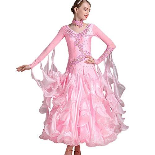 Moderner Tanzrock für Frauen Performance Kostüme Großer Schaukel Tanzkleider Strass Walzer Wettkampfanzüge Standard Tanzkleidung, XXL
