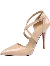 7568a2a71d3 Zapatos de Mujer Elegante con tacón Alto de Charol Liqiqi Zapatos de tacón  Alto 10CM Correas