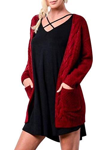 ShallGood Frauen Cardigan Damen Strickjacke Casual Langarm Jacke Seitentaschen Strickmantel Herbst Winter Plüsch Einfarbig Feinstrick Cardigan Mit Taschen Rot DE 40
