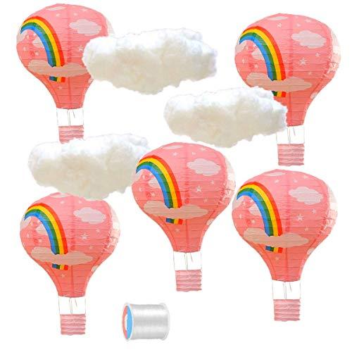 JZK 5x Linternas + 3x nube + sedal pesca, rosado arcoiris globo aerostático lampara de papel decoraciones de techo para los niños bebé niña fiesta de cumpleaños