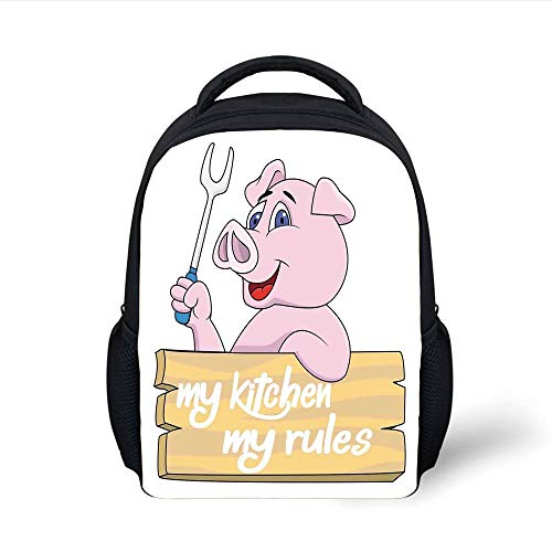 Kids School Backpack Kitchen Decor,Pig Chef Holding BBQ Barbeque Fork Tongs Fast Food Mascot Character Grill Wood Menu,Pink White Plain Bookbag Travel Daypack