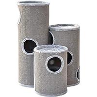nanook Kratztonne Kratzbaum Condo mit Spielball, Sisal Plüsch, grau 100 cm