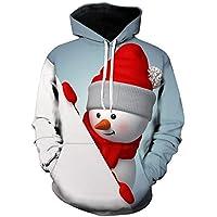 Cebbay Navideño Sudadera con Capucha Hombre Top de Manga Larga con Estampado navideño en 3D Chándales Prendas de Punto Ropa Hombre Invierno 2018