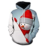 SEWORLD Weihnachten Christmas Herren Männer Herbst Winter Weihnachten Drucken Langarm Mit Kapuze Sweatshirt Top Bluse(Weiß,EU-52/CN-3XL)