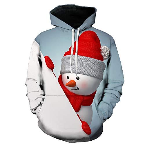 SEWORLD Weihnachten Christmas Herren Männer Herbst Winter Weihnachten Drucken Langarm Mit Kapuze Sweatshirt Top ()