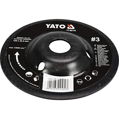 Yato-Rallador para amoladora angular Selección 115mm corte de 125mm lija madera madera Flex Madera Sintética, 125mm Nr 3, 1