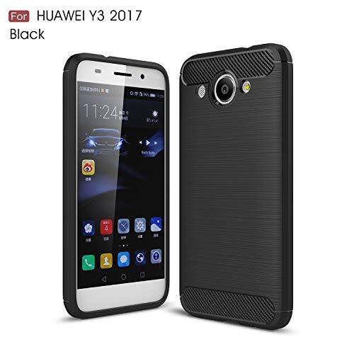 Huawei Y3 Hülle, Huawei Y3 Handyhüle, Alfort Prämie TPU Schutzhülle Bling Glitzer Lederhülle für Huawei Y3 Smartphone Handy Tasche Flip Case Cover mit Standfunktion (Schwarz)