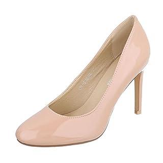 Ital-Design High Heel Damen-Schuhe Plateau Pfennig-/Stilettoabsatz High Heels Pumps Altrosa, Gr 36, Ayl-2-