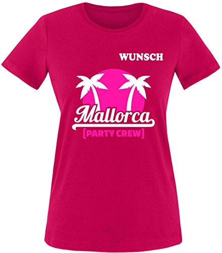 EZYshirt® Mallorca Party-Crew | Wunschname | Damen & Herren Rundhals T-Shirt Damen/Sorbet/Weiß/Pink