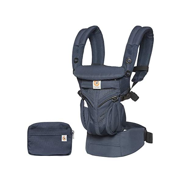 Ergobaby Baby Carrier for Newborn to Toddler, Ergonomic 4-Position Omni 360 Cool Air Midnight Blue, Baby Carrier Front Back Front Facing, Backpack Ergobaby Baby carrier with 4 ergonomic wearing positions: parent facing, on the back, on the hip and on the front facing outwards. four ergonomic carry positions and easy to use. Adapts to baby's growth: infant baby carrier new-born to toddler (7-33 lbs./ 3.2 to 20 kg), no infant insert needed Breathable 3d air mesh material ensures the optimal temperature of the baby. includes removable belt pouch. 3