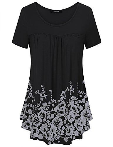 Lotusmile Frühling Oberteile für Damen, Einzigartige Florale Tunika Kurzarm Freizeit Street Style in Falten Tunika Shirt für Leggings,Schwarz M