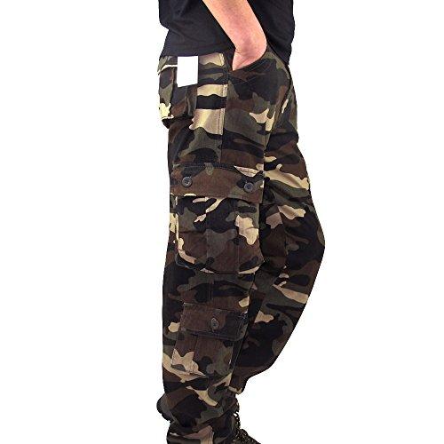 LoveLeiter MäNner Sport Arbeits ZufäLlige Camo Hosen Workwear Arbeitshose Herren Outdoor Tactical Baumwolle Cargo Trousers Mit Vielen Taschen FüR Jagd Wandern Camping Cargohose Vintage(Khaki,34) -