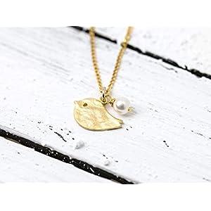 Verspielte, zierliche Perlen-Kette mit Vogel, vergoldete 925er-Sterling-Silber Kettchen mit vergoldetem Vögelchen und kleiner Muschelkern-Perle, das perfekte Geschenk