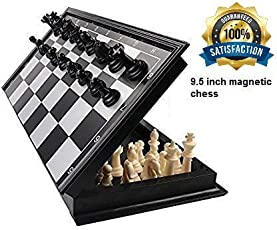 Tavakkal® Folding 100% Standard Materials and Smooth Surface Magnetic Chess Board Black and White (9)