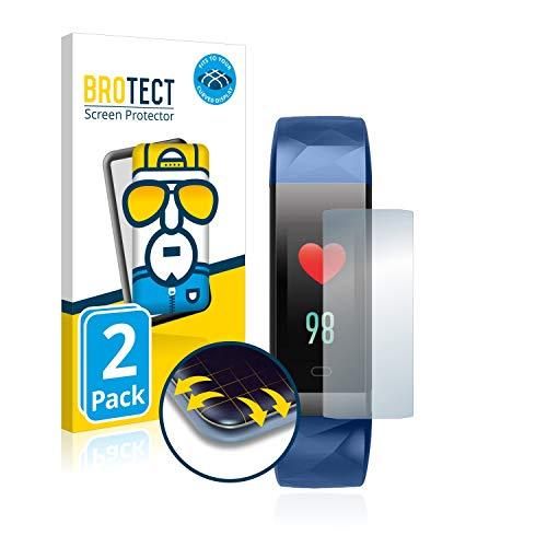 BROTECT Full-Cover Schutzfolie kompatibel mit Letsfit Fitness Tracker ID131 (2 Stück) - Full-Screen Displayschutz-Folie, 3D Curved, Kristall-Klar