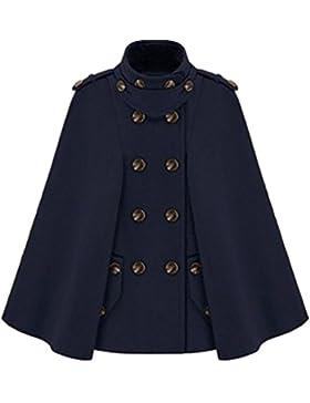WanYang Mujer Chaqueta de Invierno Doble Abotonadura Con Capucha capote Poncho Estilo abrigo