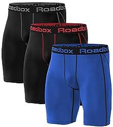 Roadbox 3er Pack Herren Kompressionsshorts, Laufhose Herren Kurz Schnelltrocknendes Baselayer Short Tights Kurz Hose XXL 3er Pack: Schwarz, Schwarz (Roter Streifen), Blau