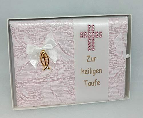 Taufbrief Patty rosa mit Anhänger Fisch und Kreuz, Taufe Mädchen Geschenk handmade (Fisch Patty)