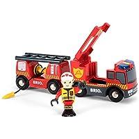 BRIO World 33811 - Feuerwehr Leiterfahrzeug mit Licht und Sound, bunt