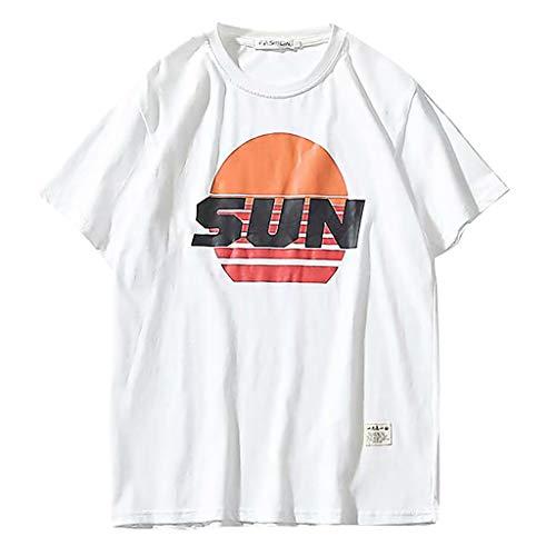 Eaylis Herren T-Shirt Sommer Lose KurzäRmeligen Rundhals Buchstaben Gedruckte Muster Und Trends Der Japanischen Stil T-Shirt