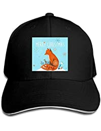 Christmas Fox Cap Unisex Low Profile Cotton Hat Baseball Caps White
