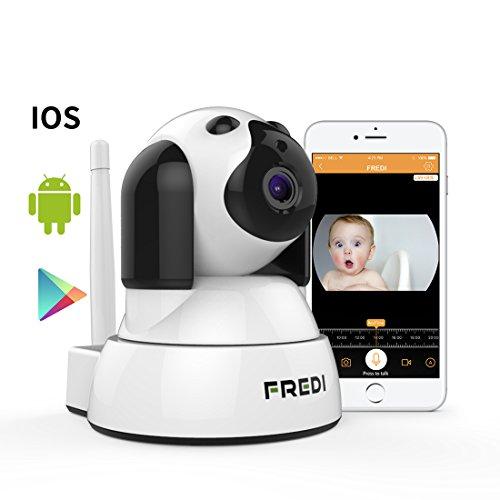 FREDI Baby Monitor IP WiFi P2P Cámara de Vigilancia/Seguridad Inalámbrica HD 720P Camara de Vigilabebes, IR Vision Nocturna,Admite MicroSD de hasta 128 GB Detección de Movimiento/para Mascotas