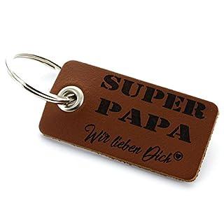 Lieblingsmensch aus Leder - Wir lieben Dich Papa Schlüsselanhänger, 12 cm, Braun